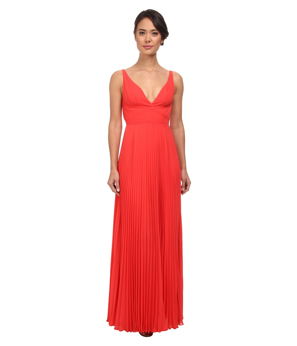 Laundry by Shelli Segal - Pleated Chiffon Open Back Gown (Hibiscus) Women's Dress