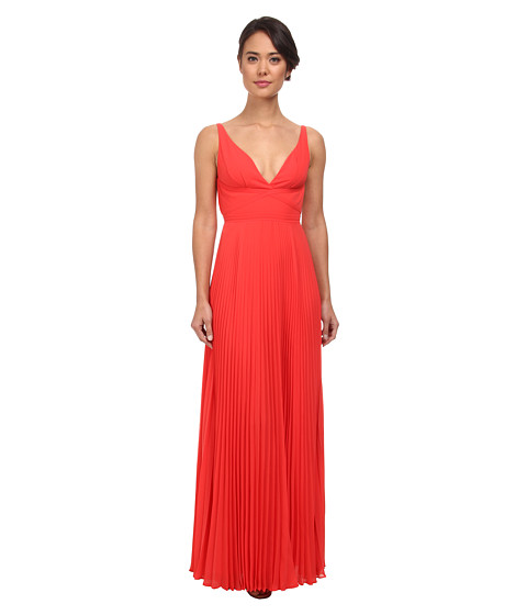 Laundry by Shelli Segal - Pleated Chiffon Open Back Gown (Hibiscus) Women