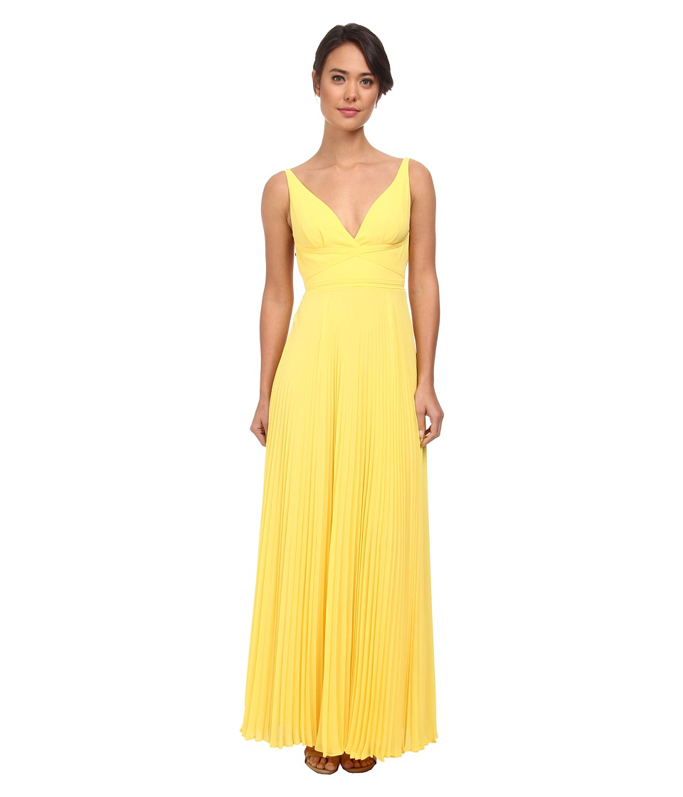 Laundry by Shelli Segal - Pleated Chiffon Open Back Gown (Canary Yellow) Women's Dress