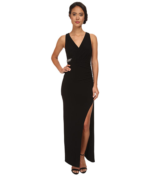 Laundry by Shelli Segal - Wrap Front Open Slit Jersey Gown (Black) Women