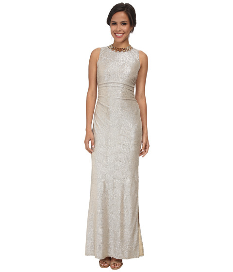 Laundry by Shelli Segal - Metallic Side Shirred Gown with Gold Necklace (Gold/Silver) Women