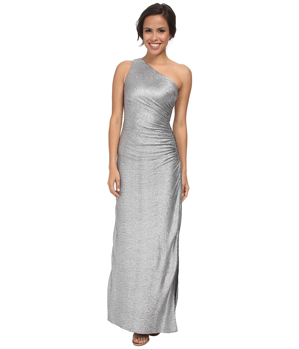 Laundry by Shelli Segal - Whirpool Foil Knit One Shoulder Gown (Silver) Women's Dress