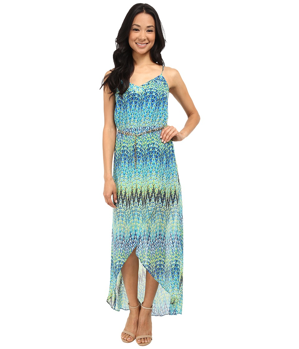 Laundry by Shelli Segal - Sparkler Georgette Tulip Hem Maxi (Diva Blue Multi) Women's Dress