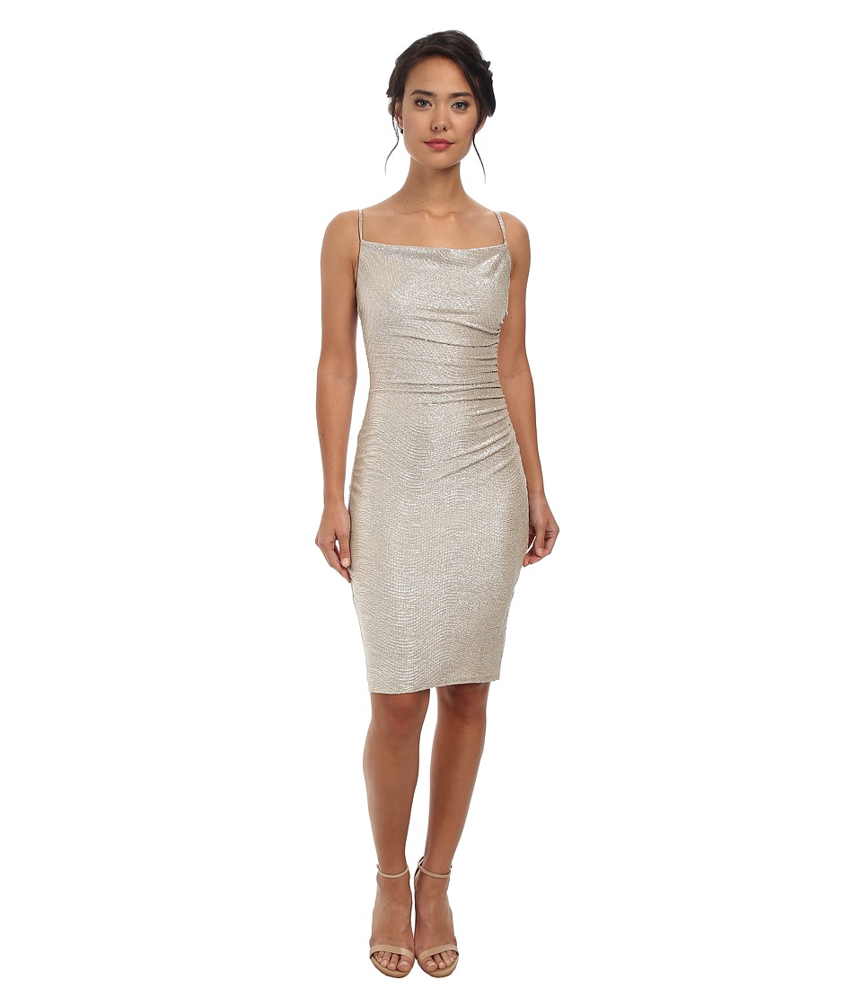 Laundry by Shelli Segal - Crinkle Foil Knit Skinny Strap Cocktail (Gold/Silver) Women