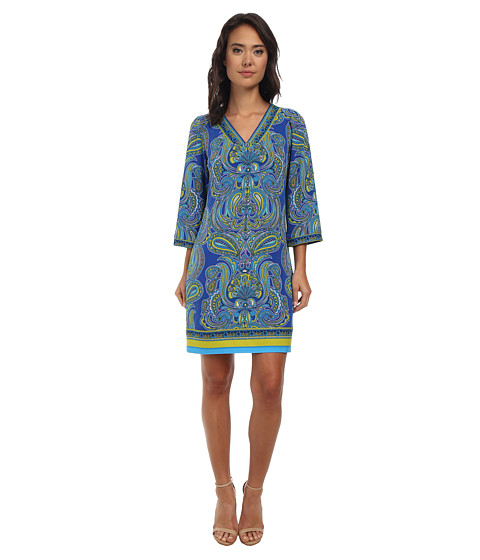 Laundry by Shelli Segal - Fancy Pantz Paisley Matte Jersey Dress (Bright Blue Beret Multi) Women