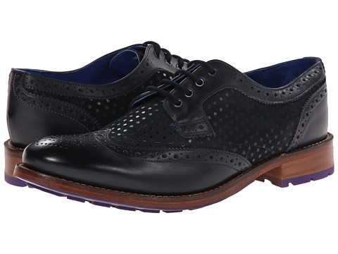 Ted Baker - Cassiuss 3 (Dark Blue Leather/Suede) Men's Lace Up Wing Tip Shoes