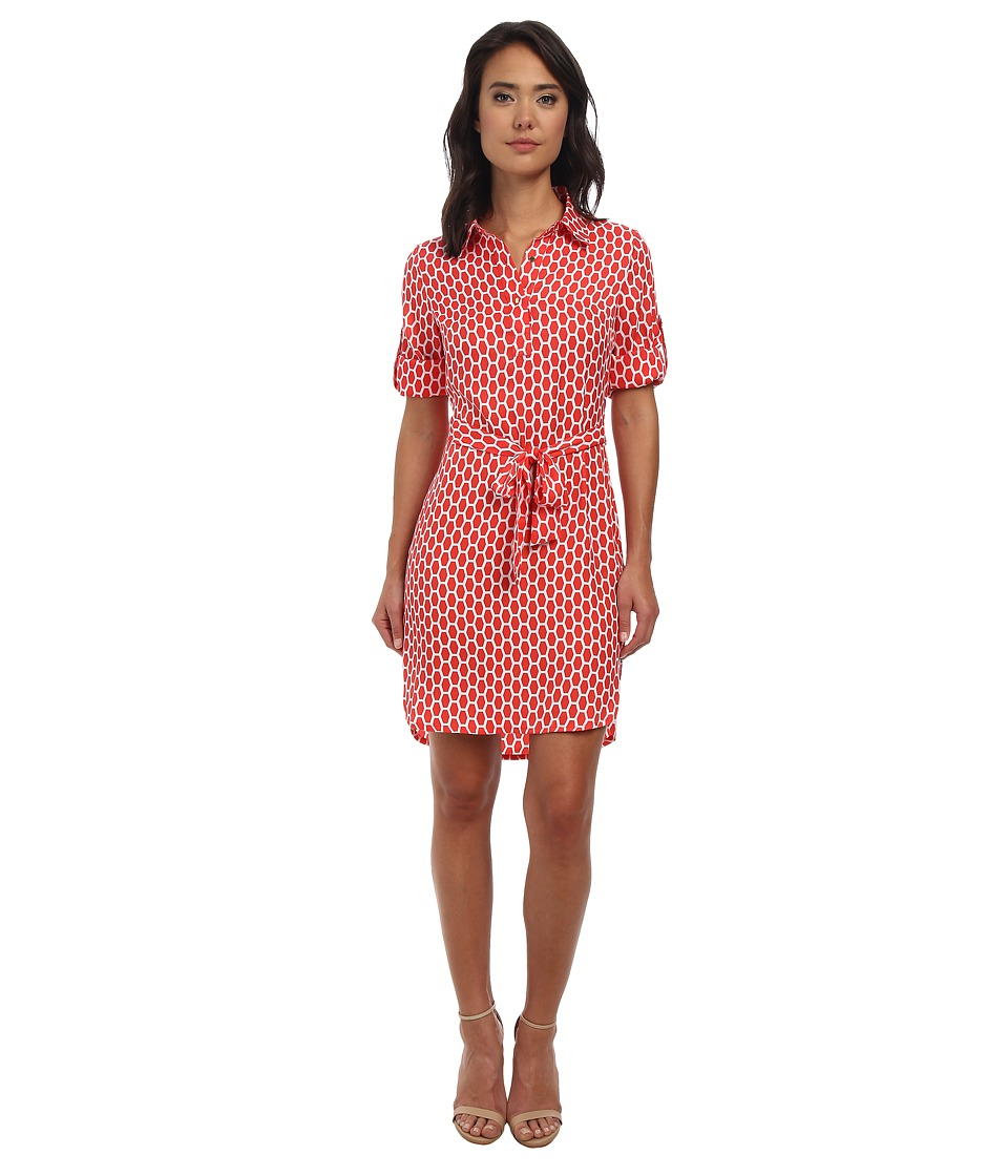 Laundry by Shelli Segal - Honey Bee Peached Twill Shirtdress (Hibiscus Multi) Women's Dress