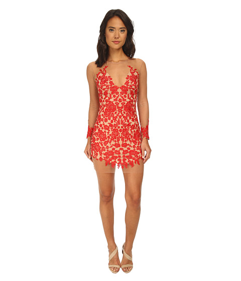For Love and Lemons - Luau Mini Dress (Red/Nude) Women