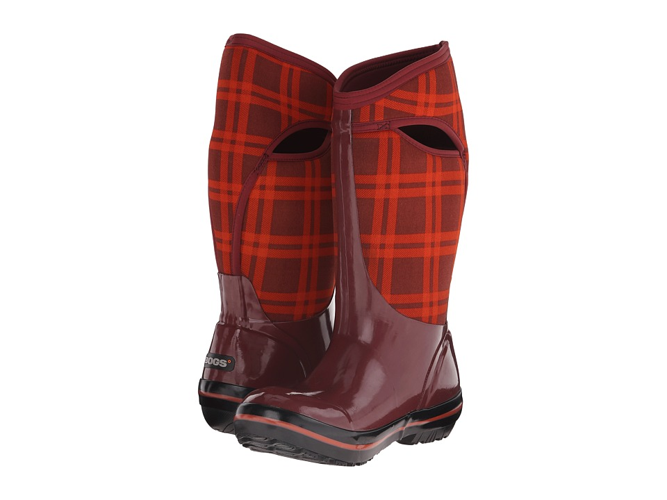 Bogs Plimsoll Plaid Tall (Ox Blood) Women