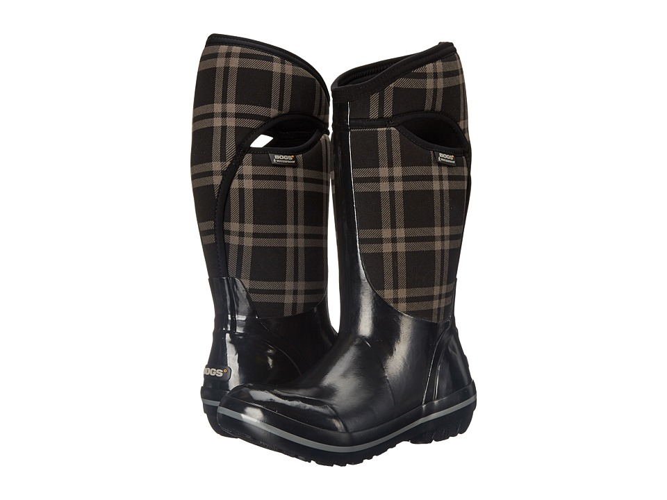 Bogs Plimsoll Plaid Tall (Black) Women