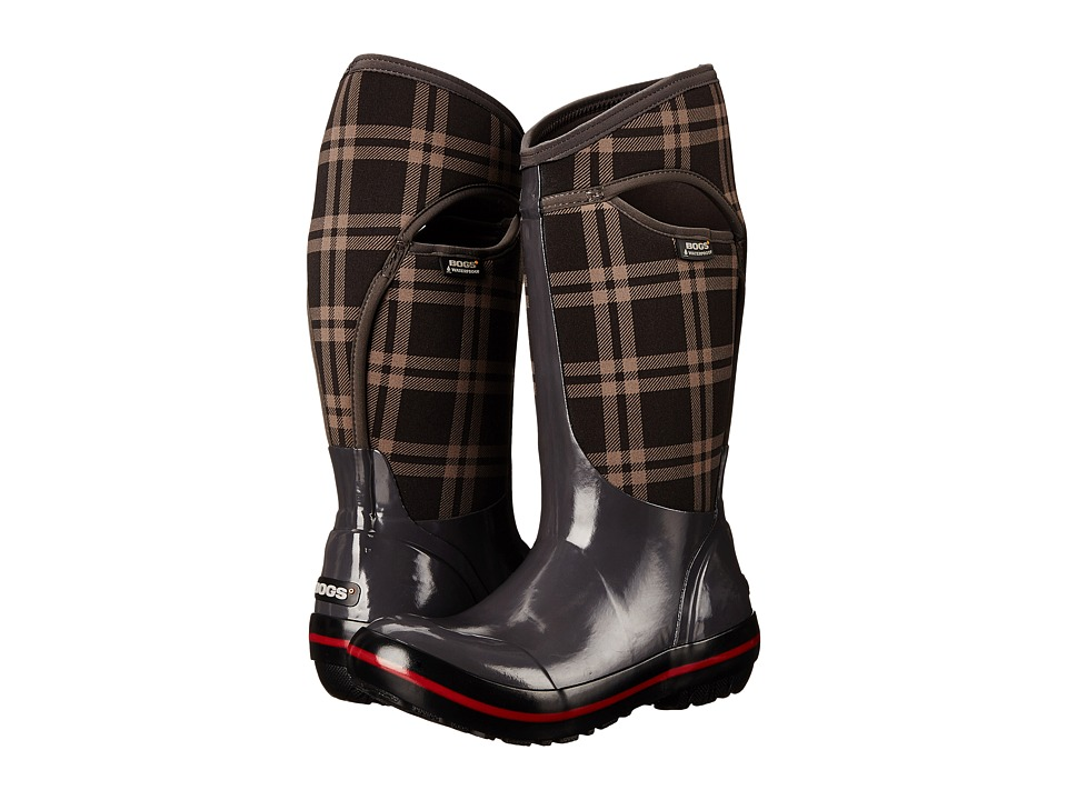 Bogs Plimsoll Plaid Tall (Dark Gray) Women