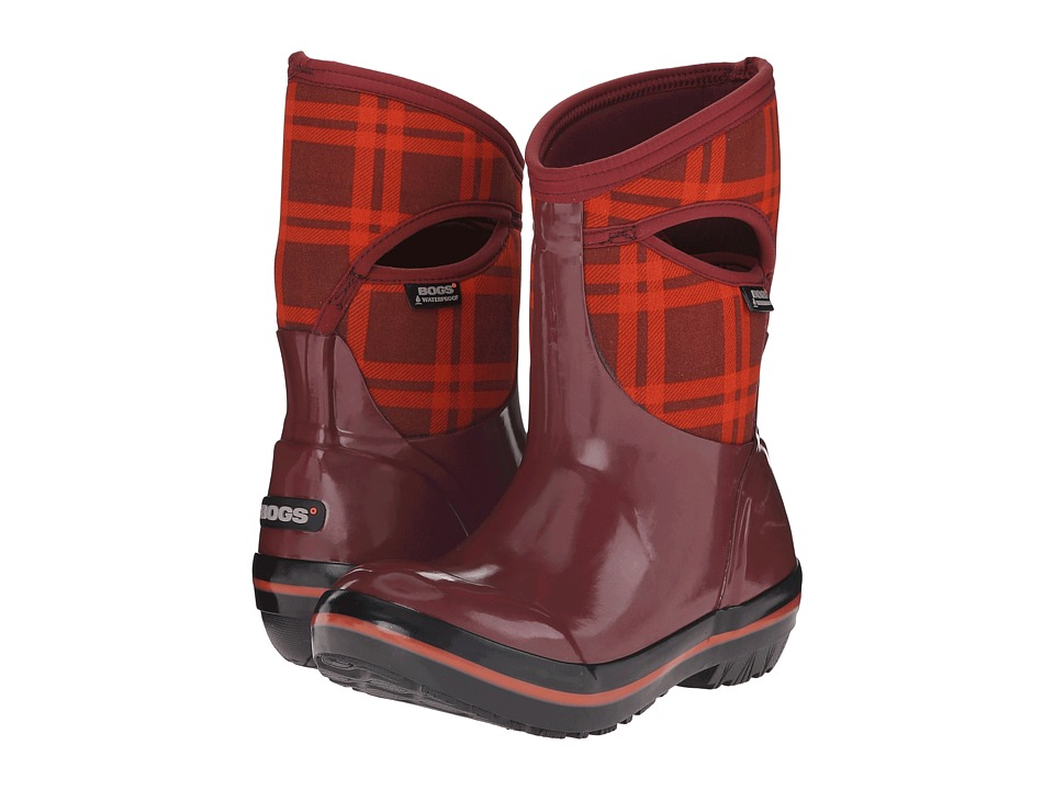 Bogs Plimsoll Plaid Mid (Ox Blood) Women