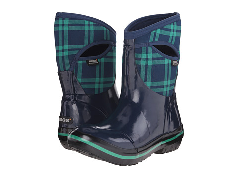 Bogs - Plimsoll Plaid Mid (Dark Blue) Women's Cold Weather Boots