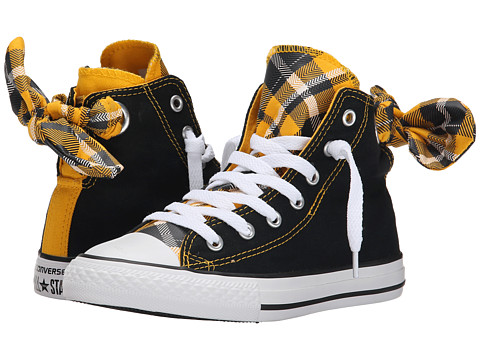 Converse Kids - Chuck Taylor All Star Plaid Bow Back Hi (Little Kid/Big Kid) (Black/Yellow/White) Girls Shoes