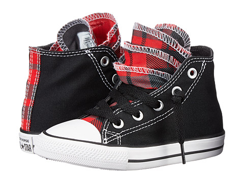 Converse Kids - Chuck Taylor All Star Plaid Party Hi (Infant/Toddler) (Black/Casino/White) Girl