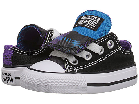 Converse Kids - Chuck Taylor All Star Plaid Double Tongue Ox (Infant/Toddler) (Black/Cyan Space/Allium Purple) Girls Shoes