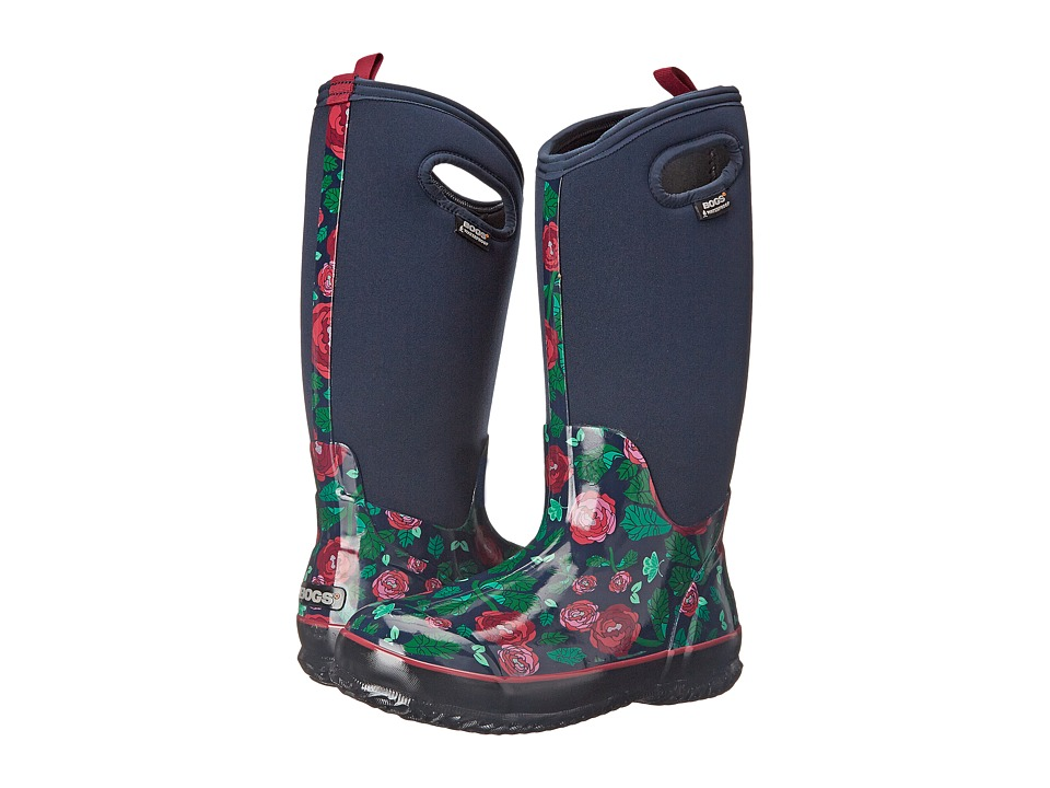 Bogs - Classic Rose Garden Tall (Dark Blue) Women's Rain Boots