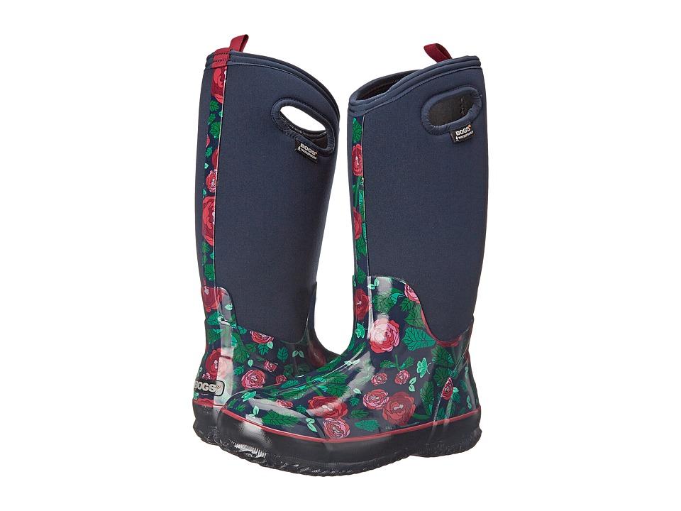 Bogs - Classic Rose Garden Tall (Dark Blue) Women's Rain Boots