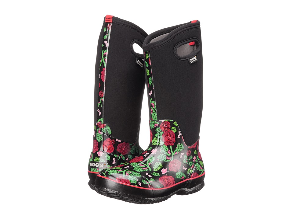 Bogs Classic Rose Garden Tall (Black) Women