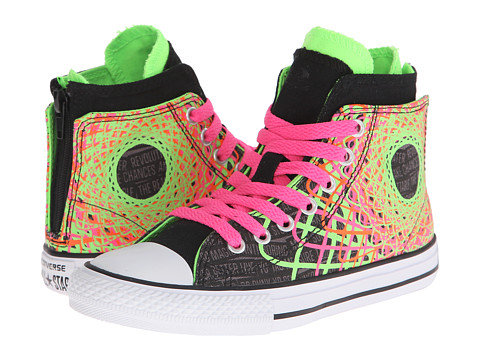 Converse Kids - Chuck Taylor All Star Color Spiral Zipback Hi (Little Kid/Big Kid) (Black/Green Gecko/Neo Pink) Girls Shoes