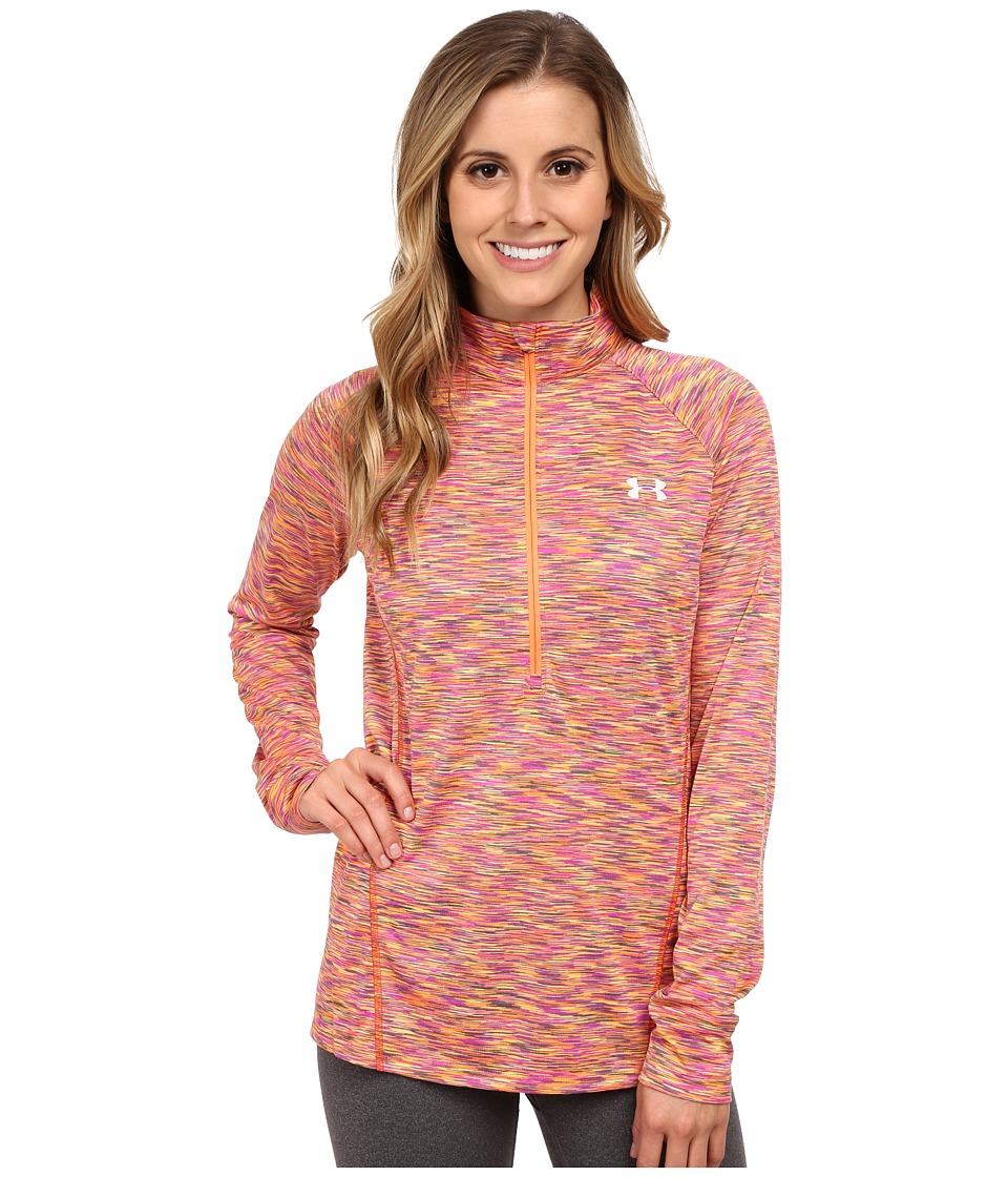 Under Armour - UA Techtm Disruptive Space Dye 1/2 Zip (Cyber Orange/Rebel Pink/Metallic Silver) Women's Long Sleeve Pullover