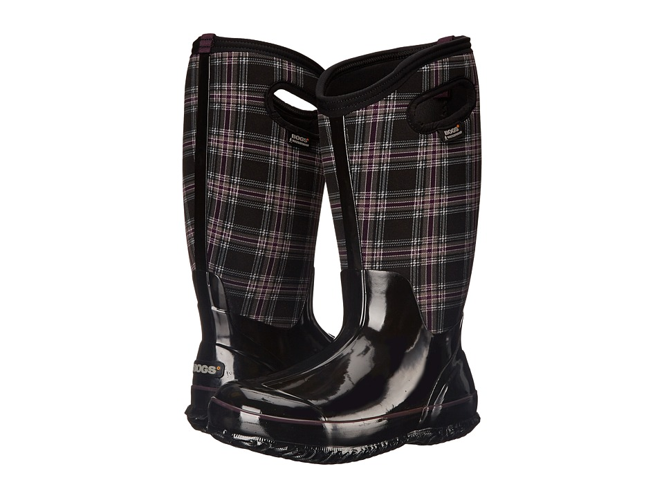 Bogs - Classic Winter Plaid Tall Wide Calf Boot (Black Multi) Women's Rain Boots