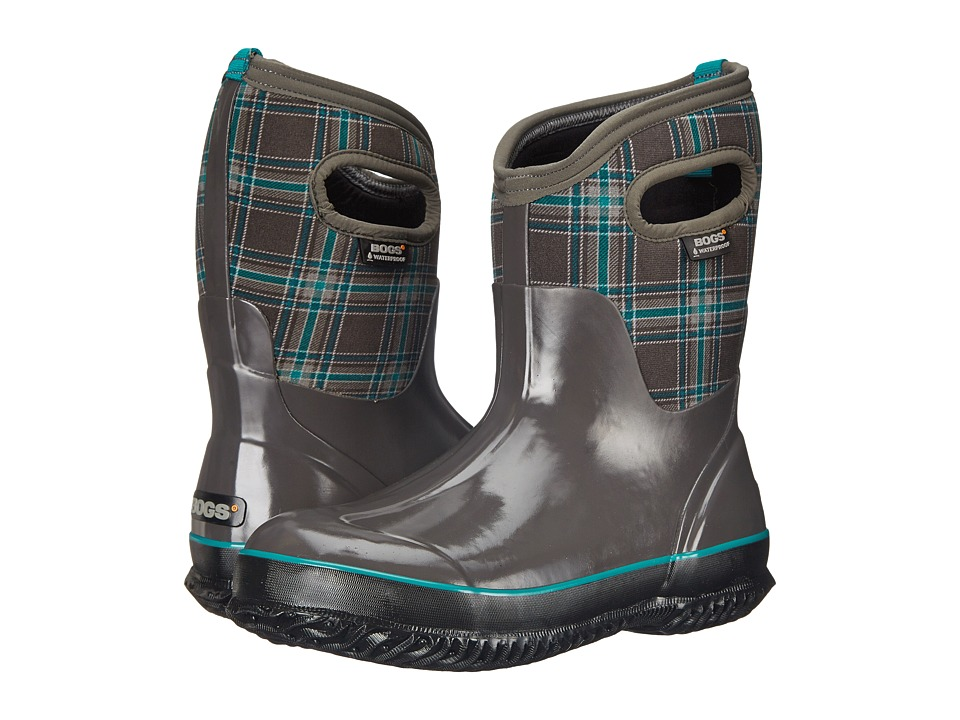 Bogs - Classic Winter Plaid Mid (Dark Gray Multi) Women's Pull-on Boots