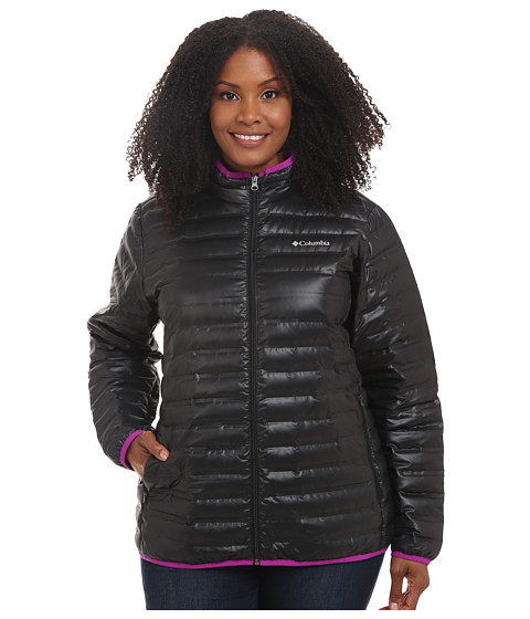 Columbia - Plus Size Flash Forward Down Jacket (Black/Bright Plum) Women's Coat