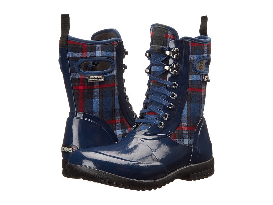 Bogs - Sidney Lace Plaid (Dark Blue Multi) Women