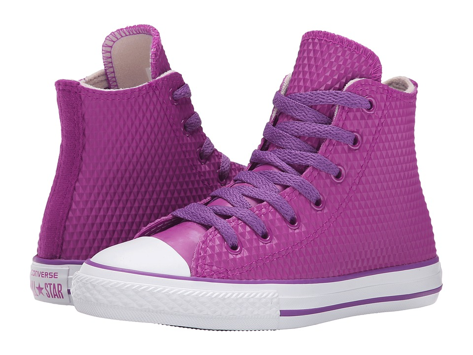 Converse Kids - Chuck Taylor All Star Rubber Emboss Hi (Little Kid/Big Kid) (Pink Sapphire/Allium Purple/White) Girls Shoes