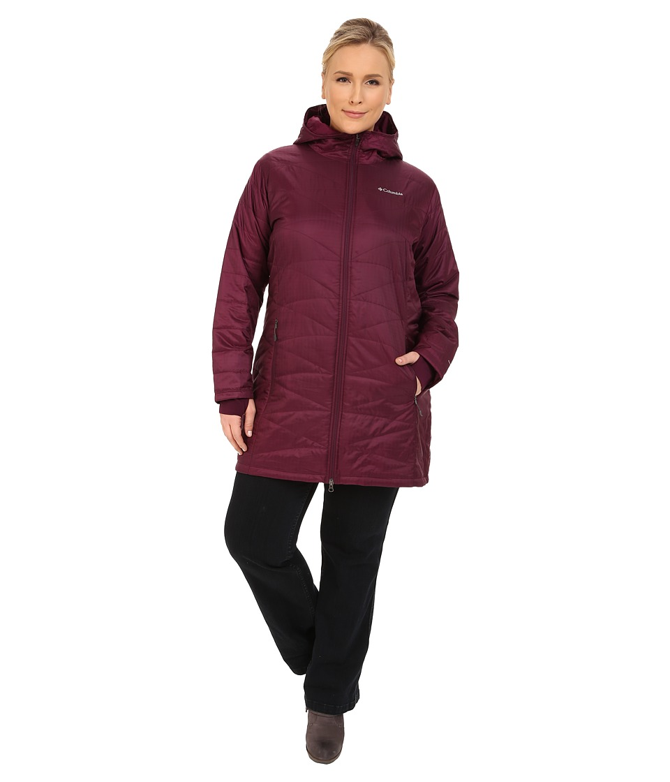 Columbia - Plus Size Mighty Lite Hooded Jacket (Purple Dahlia) Women's Coat