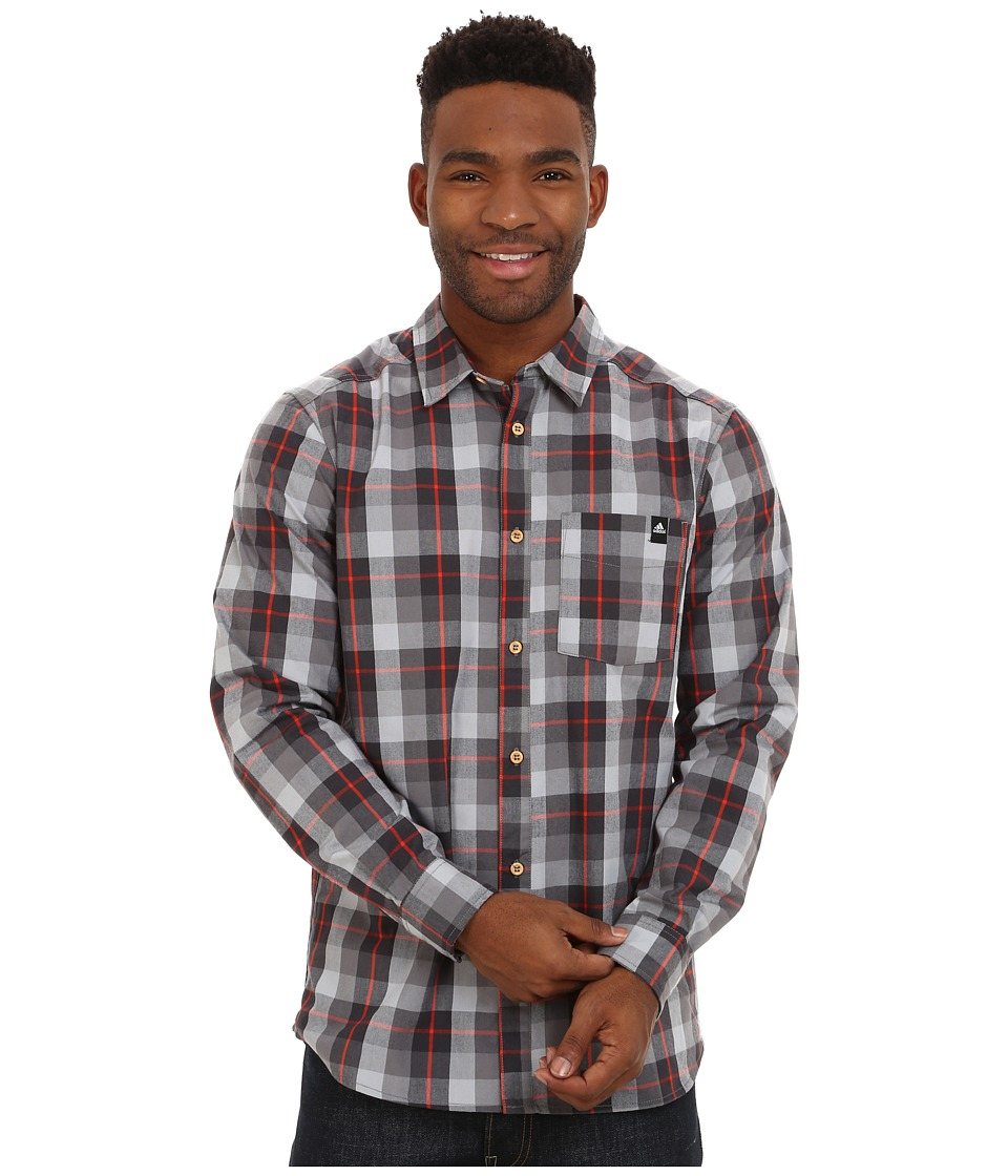 adidas Outdoor - Lumbercheck Shirt (Black) Men's Long Sleeve Button Up