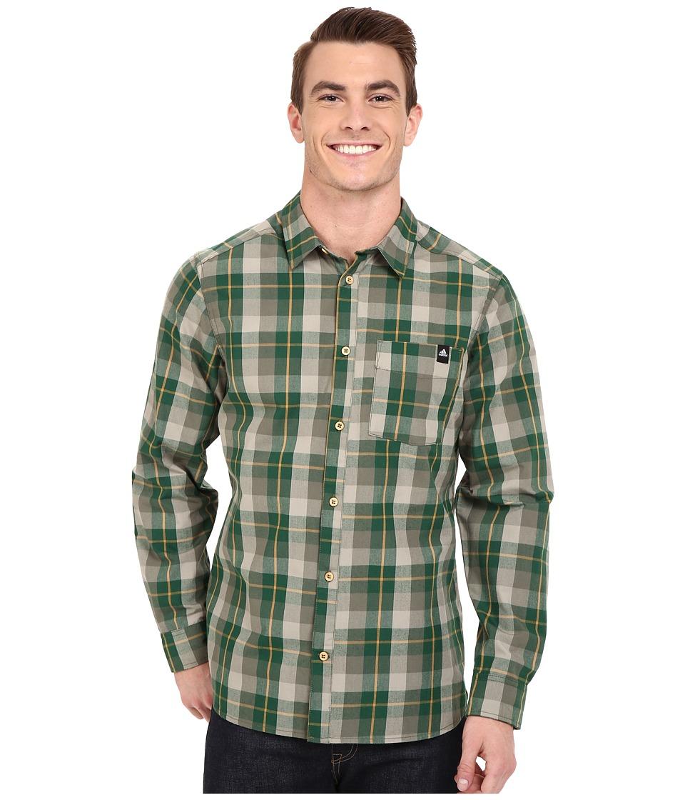 adidas Outdoor - Lumbercheck Shirt (Base Green) Men's Long Sleeve Button Up