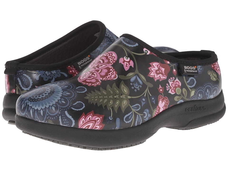 Bogs - Oliver Winter Blooms (Black Multi) Women's Slip on Shoes