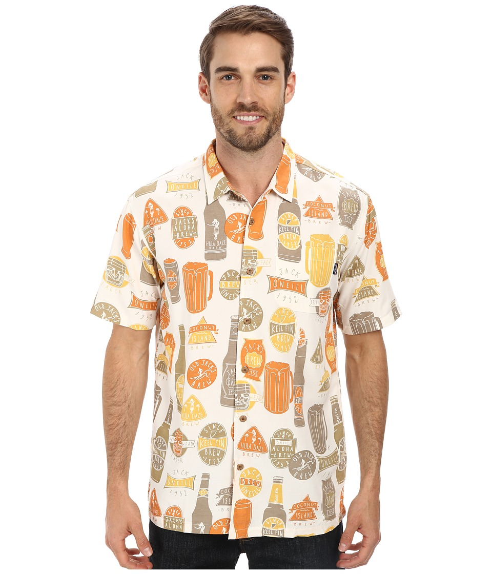Jack O'Neill - Brews Wovens (Natural) Men's Short Sleeve Button Up