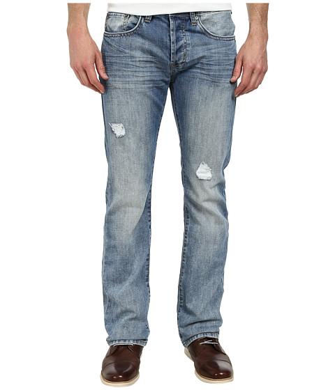 Buffalo David Bitton - King Slim Boot in Lucas Blue Fabric in Sanded Patched (Sanded & Patched) Men's Jeans