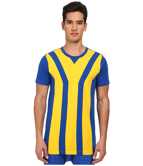 adidas Y-3 by Yohji Yamamoto - Striped Short Sleeve Tee (Collegiate Royal/Tribe Yellow S14) Men