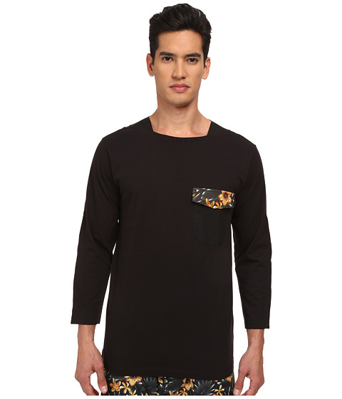 adidas Y-3 by Yohji Yamamoto - Long Sleeve Jersey Tee (Black/Black/Aop Flower 1) Men's T Shirt
