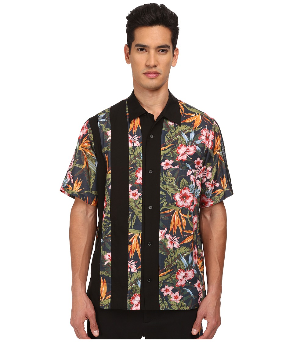 adidas Y-3 by Yohji Yamamoto - Aloha Short Sleeve Shirt (Aop Flower 2/Black) Men's Clothing