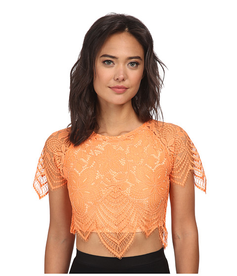 For Love and Lemons - Luna Crop Top (Tropical Orange) Women's Clothing