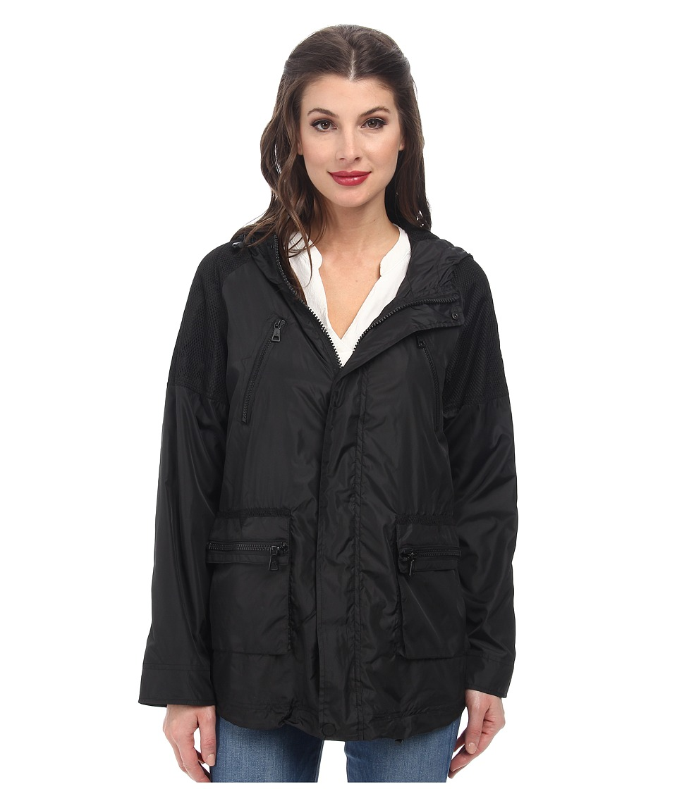 Sam Edelman - Mesh Trimmed Active Rain Jacket (Black) Women's Coat