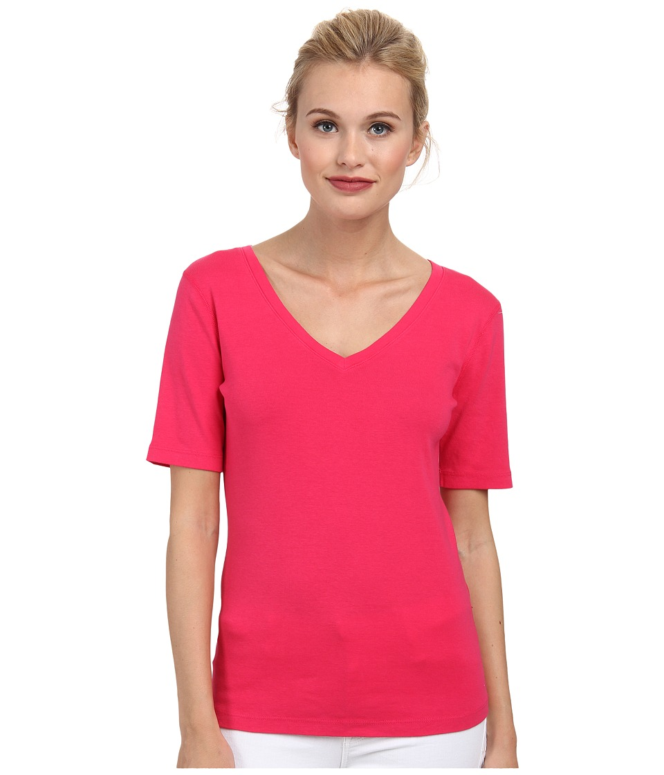 Three Dots - 9 Sleeve V-Neck (Pink Punch) Women's Short Sleeve Pullover