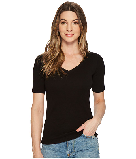 Three Dots - 9 Sleeve V-Neck (Black) Women's Short Sleeve Pullover