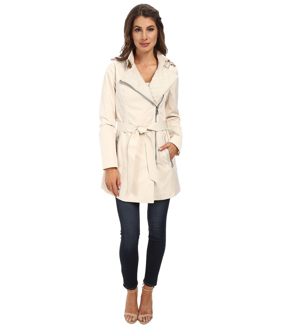 Sam Edelman - Asymm Zip Front Trench w/ Coated Linen Detail (Beige) Women