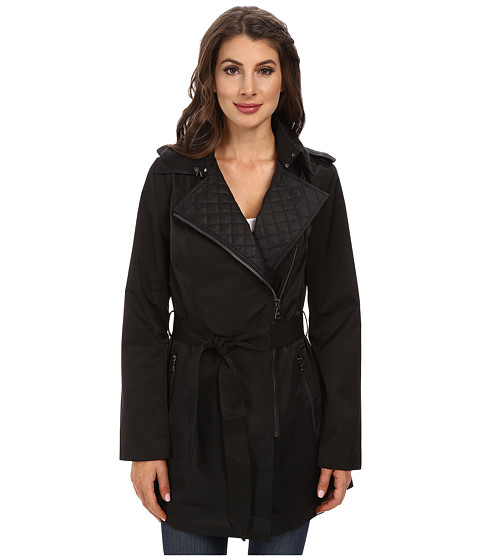 Sam Edelman - Asymm Zip Front Trench w/ Coated Linen Detail (Black) Women