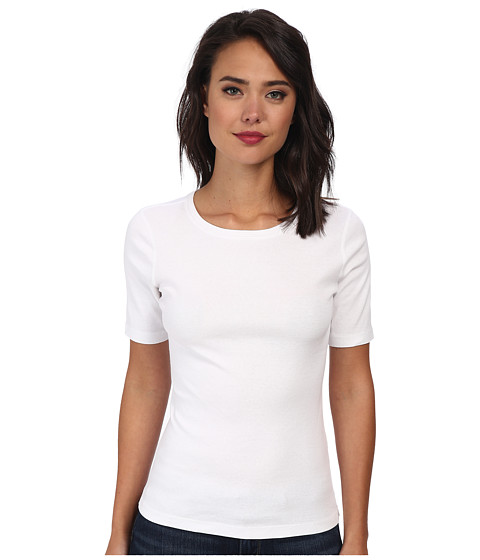 Three Dots - 9 Sleeve Crew (White) Women