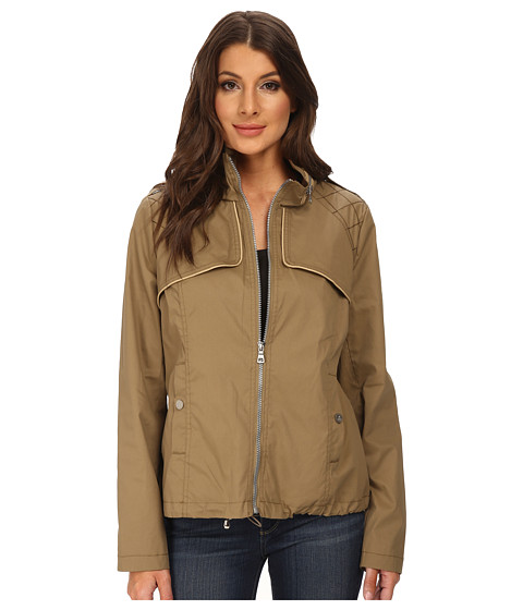 Sam Edelman - Cotton Bomber w/ Diamond Quilt Detail (Tan) Women's Coat