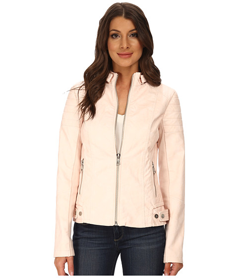 Sam Edelman - Zip Front Vegan Leather Jacket (Pink) Women's Coat