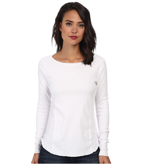 Three Dots - Long Sleeve Top (White) Women's Clothing