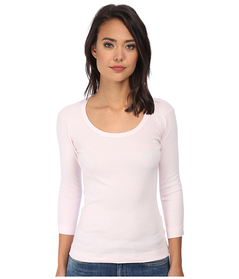 Three Dots - 3/4 Sleeve Scoop Neck (Sheer Pink) Women's T Shirt